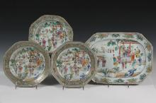 (4 PCS) CHINESE FAMILLE ROSE PORCELAIN - Chinese Famille Rose Dishes, Qianlong (1736-95), having similar decoration of domestic and court scenes, with giltwork on the scalloped rims, including: (1) Plate, 8 5/8