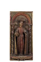 SPANISH OR SPANISH COLONIAL SANTOS PANEL - Carved Wood and Polychromed Full-Length Figure of Saint James the Greater, 18th-19th c, depicted in processional robes of that period, with gold and glass jeweled details, an...
