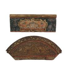 (2) OTTOMAN PAINTED PANELS - Late 18th to early 19th c Turkish Architectural Panels, both with raised painted and gilt decoration, the first with Arched Top, chamfered lower center edge, with scrollwork decoration and...