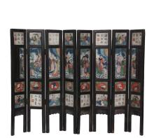 CHINESE TABLE SCREEN - Fantastic 19th c. Qing Eight-Fold Miniature Screen with hardwood frame and four painted marble sections per panel, people and objects of fortune on one side, landscapes and blossoms on the other...