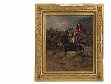 RAYMOND DESVARREUX (France, 1876-1963) - Napoleonic Cavalryman Capturing an English Flag, oil on canvas, signed lower right, dated 1906, in vintage gold gesso frame, OS: 29