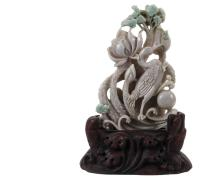 CHINESE JADE SCULPTURE - Kingfisher Among Flowers, in white jade with flashes of emerald green, set into a custom carved wooden stand, 9