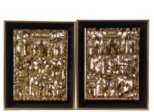PAIR OF CHINESE ARCHITECTURAL PANELS - Deeply Carved and Reticulated Heavily Gilded Wooden Door Panels depicting narratives of Imperial Figures, mounted in black mitered frames, 16