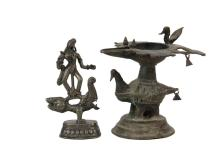 (2) SMALL CONTINENTAL INDIAN BRONZES - Both 19th c