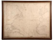 FRAMED MONUMENTAL SHIP CHART WITH ROUTE MARKINGS - 1851 E