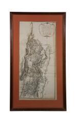 RARE AMERICAN REVOLUTIONARY WAR MAP - 1780 London printing of Burgoyne's 1777 Campaign March, framed