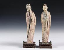 PAIR OF CHINESE CABINET FIGURES - 19th c. Figures of Standing Confucian Scholars, in tinted ivory, on carved wooden stands. 9