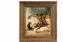 CARLOS RUANO LLOPIS - (Spain/Mexico, 1879-1950) - Rodeo Rider, oil on canvas, signed lower right, in carved wood frame, OS: 22 1/2