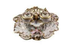 GERMAN PORCELAIN INKWELL - Early 19th c. Reticulated Shell in Baroque form, unmarked, gilt edged, with inkwell and shaker under crowned lids, small nib tray and integral pen tray, with pink rose central motif flanked ...