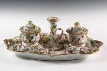 CHAMBERLAIN WORCESTER DESK STAND - Fine Quality 19th c., featuring detailed and realistic floral blossoms, in rococo form, containing a candleholder, covered inkwell and covered jar, unmarked, roughly 6