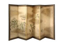 JAPANESE PAINTED FOLDING SCREEN - Late 19th to early 20th c. Six-Panel Screen, decorated with a continuous scene in gouache on paper, signed and with seal, depicting two small groups of pilgrims approaching a Torii ga...