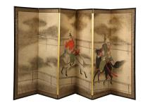 JAPANESE PAINTED FOLDING SCREEN - Late 19th to early 20th c. Five-Panel Screen, decorated with a continuous scene in gouache on paper, signed and with seal, depicting two aristocrats racing horses within a fenced cour...