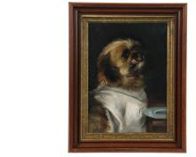 BOSTON SCHOOL ARTIST - Portrait of a Dog Awaiting Dinner, seated at a table with an empty pewter plate and having a napkin tied around his neck, licking his chops, oil on canvas, unsigned, circa 1890, with a Boston pr...