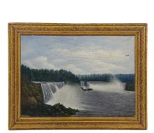 NAIVE AMERICAN ARTIST - Niagara Falls, oil on plywood, signed lower right