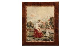 BERLIN WORK SCHOOLGIRL MEMORIAL - Very Fine Quality Needlepoint Mourning Piece in polychrome wool and silk, depicting a woman in summer dress kneeling at a small grave in a walled garden, village and mountains in the ...