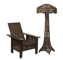 ARTS & CRAFTS WICKER MORRIS CHAIR AND FLOOR LAMP WITH SHADE - Circa 1900 Bar Harbor Pattern Chair and Floor Lamp, in matching chocolate brown finish that appears to be original