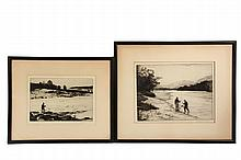NORMAN WILKINSON (UK, 1878-1971) - (2) Drypoint Fly Fishing Etchings, each from an edition of 100, pencil signed, with the original labels verso giving titles, in black stick frames, matted and glazed, including: