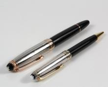 (2) MONT BLANC PENS MIB - Both Mont Blanc Meisterstuck Solitaire Doue, including: Fountain Pen 146 GP (Rose Gold) Ltd Anniversary Edition 1924, 75250 F, No 1415, GV 1091794; PLUS Ballpoint Pen AG925, 146 DS, 17329, (B...