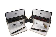 (4) MONT BLANC CASED PENS - All Mont Blanc Meisterstuck, including: Fountain Pen, #149 (largest size), 585 on nib, 1986, in clamshell case with papers; PLUS Fountain Pen #146 (large size) (EG 1052334), in clamshell ca...