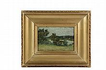 CLARK GREENWOOD (C.G.) VOORHEES (CT, 1871-1933) - Bermuda Coastal Landscape, oil on academy board, signed lower left, in vintage gold shallow cove frame, OS: 12 1/2
