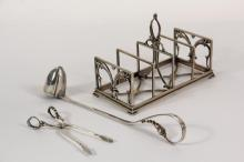 SILVER UTENSILS - (3) Pcs of Sterling Silver, including: Large four-section letter or toast rack by Georg Jensen, openwork base and leaf form motif decoration, marked