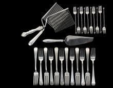 FLATWARE - (25) Pcs of Sterling Silver Flatware, including: (12) dinner forks by Tuttle Silversmiths in the Hannah Hull pattern, (10) seafood forks by Gorham in the No. 11 pattern featuring twist handles with a seashe...