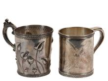 MUGS - (2) 19th c. American Silver Mugs, including: a Coin Silver Mug by Peter L. Krider, Philadelphia, PA, 1850-88, with repousse floral and leaf decoration and scroll and beaded handle, marked on base