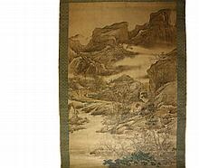 MONUMENTAL JAPANESE PAINTED SCROLL - Buncho Tani (1763-1841), ink and colors on silk, laid to paper, on a later brocade scroll, with seal only, depicting a magnificently detailed mountain and lake landscape with multi...