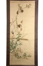 JAPANESE PAINTED SCROLL - Hanging Scroll, unidentified artist, in ink and colours on silk laid to paper, depicting in a free form style one quizzical bird, plum branch, bamboo armature and flowering branches, with scr...