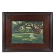 IMPRESSIONIST LANDSCAPE - A Woman Reading Under an Ancient Tree, oil on canvas by an American Artist, circa 1900, unsigned, rendered in light impasto with a nice sense of summer light, in a walnut panel frame with dee...