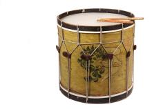 REPLICA AMERICAN REVOLUTIONARY WAR DRUM - Eames Field Drum in faux bird's-eye paint with a sideways American Eagle painted shield, a historically accurate replica with copper tacked horizontal and vertical joints, she..