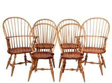 (SET OF 6) D.R. DIMES WINDSOR CHAIRS - (2) Arm/(4) Side, correct in every detail for an 18th c. American Colonial Windsor chair, including bent oak hoop back and arms, thin spindles, deeply shaped pine seat, boldly tu...