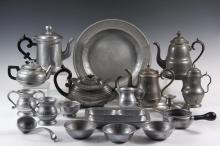 COLLECTION OF (48 PCS) OF PEWTER IN (4) TRAYS - All but a few are modern, and include many plates, bowls, pitchers and teapots, one of the last is by Dixon. From a Belmont Mass. Home.
