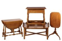 (4 PCS) ETHAN ALLEN FURNITURE - Quality Solid Maple, including: Butler's Tray Coffee Table; Low Rectangular Table with Drawer, Oval Drop Leaf Table and Tilt-Top Oval Candlestand, all marked