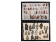 (61) NATIVE AMERICAN PROJECTILE POINTS IN (2) DISPLAY CASES - From the Collection of Jim Atherton, Lexington, KY, mostly found in the 1920s, Arrowheads ranging in size from Small Game and Bird to Large Game Points, fa...
