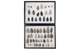(56) NATIVE AMERICAN PROJECTILE POINTS IN (2) DISPLAY CASES - From the Collection of Jim Atherton, Lexington, KY, mostly found in the 1920s, Arrowheads ranging in size from Small Game and Bird to Large Game Points, pl...