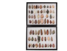 (63) NATIVE AMERICAN PROJECTILE POINTS IN (2) DISPLAY CASES - From the Collection of Jim Atherton, Lexington, KY, mostly found in the 1920s, Arrowheads ranging in size from Small Game and Bird to Large Game Points, pl...