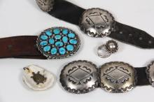 ACCESSORIES - (5) Pc. Collection of Native American Crafted Accessories, including: signed Tommy Moore sterling silver belt buckle set with (15) polished turquoise stones, presentation on back AMB, Xmas 1990, XXO, ORK...