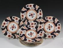 ENGLISH FINE CHINA PLATES - Set of (10) Royal Crown Derby Battersea Pattern Plates, with 1944 date mark, in rich cobalt and red-oxide with gilt detailing, rim. 10 1/4