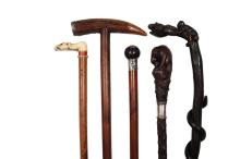 (5) FINE WALKING STICKS - All 19th c., including: Monkey on Barrel Eating a Snake, in rosewood with silver collar, 37