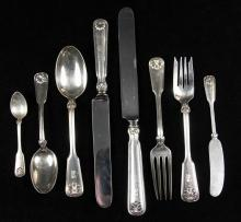 FLATWARE - (96) Pcs of Sterling Silver Flatware by Tiffany & Co. in the Shell & Thread pattern, with SM monogram, including: (11) dinner knives, (12) luncheon knives, (10) spreader knives, (10) teaspoons, (9) soup spo...