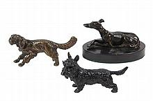 (3) BRONZE SCULPTURES - All of Dogs, unmarked, 19th c