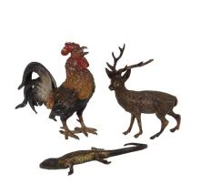 (3) COLD PAINTED BRONZES - All 19th c., including: A Bantam Rooster, 4 1/4