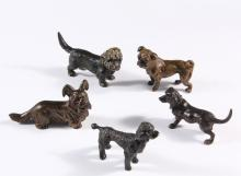 (5) AUSTRIAN COLD-PAINTED BRONZES - All of Dogs, 19th c