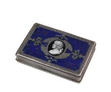 SILVER AND ENAMEL BOX WITH ROMAN PORTRAIT - Italian 800-Silver Pastille or Snuff Box with central cartouche on the hinged lid containing an enameled portrait of a Roman Emperor, surrounded by a blue lapis enameled fie...