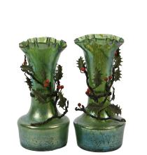 PAIR OF ART NOUVEAU LOETZ GLASS VASES - with applied cold painted polychromed bronze in the form of holly branches, Vienna, circa 1900, the glass in iridescent green-gold having a round squat base, long tapering neck ...