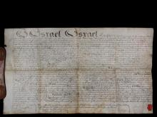1801 PHILADELPHIA DEED - Israel Israel, High Sheriff of Philadelphia, Writ of Fieri Facias on sheepskin parchment with attached seal of the City and County of Philadelphia Enrollment Office, seal of the Prothonotary O...