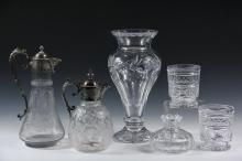 (6) PCS CRYSTAL - Collection of (6) Crystal Vessels, including: Pair of Cut Crystal Footed Low Vases with geometric, star and swag decoration by William Yeoward, England, with star cut base decoration, 4 ½