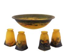 FRENCH ART GLASS (5 PC) LAMP GLASS SET - Chandelier Dome & Four Downlight Shades by Muller Freres, Luneville, all signed, in Imperial yellow and lavender, circa 1920s, 3 1/2