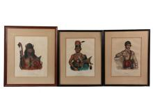 (3) NATIVE AMERICAN PORTRAITS - From the 1836-44 folio edition of McKenney & Hall's Indian Tribes of North America